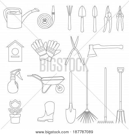 Vector icons of various gardening items and garden tools in flat design