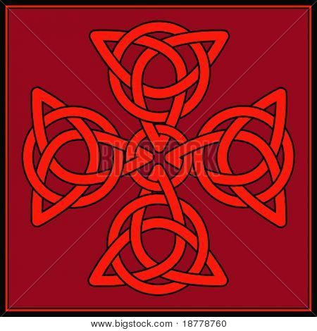 A Cross formed of celtic knots in shades of red and black