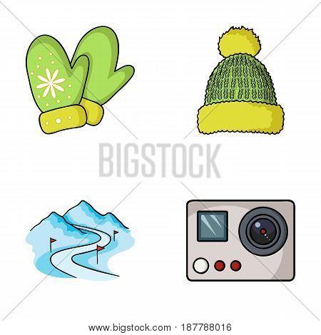 Mittens, warm hat, ski piste, motion camera. Ski resort set collection icons in cartoon style vector symbol stock illustration .