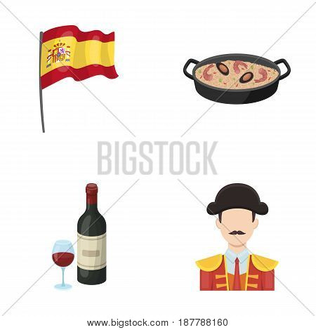 Flag with the coat of arms of Spain, a national dish with rice and tomatoes, a bottle of wine with a glass, a bullfighter, a matador. Spain country set collection icons in cartoon style vector symbol stock illustration .