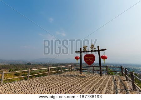 Beautiful landscape from Yun Lai viewpoint taken above Santichon chinese town close to touristic Pai village in north Thailand. Mountain view in south east Asia. poster