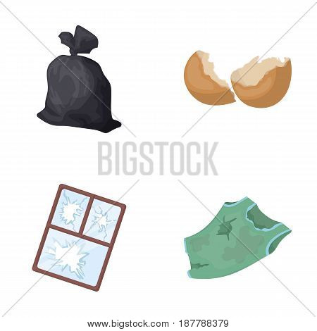 A garbage bag, a broken egg shell, a torn dirty T-shirt, a broken window frame with glass.Garbage and trash set collection icons in cartoon style vector symbol stock illustration .