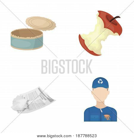Can used used pot, apple stub, old dirty and wrinkled newspaper, the man who takes out the garbage.Garbage and trash set collection icons in cartoon style vector symbol stock illustration .