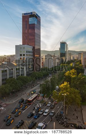 BARCELONA SPAIN - OCTOBER 23 2015: Urban view of Barcelona the capital city of the autonomous community of Catalonia in the Kingdom of Spain