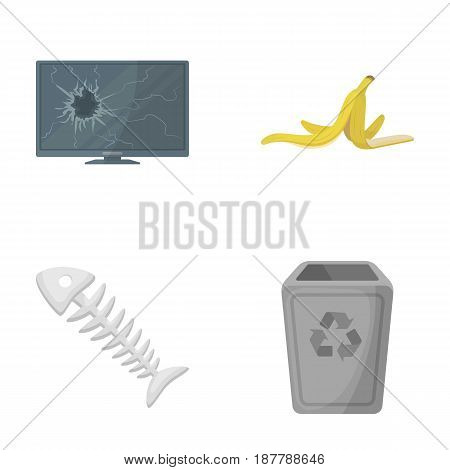 Broken TV monitor, banana peel, fish skeleton, garbage bin. Garbage and trash set collection icons in cartoon style vector symbol stock illustration .