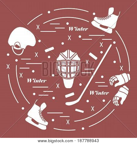 Vector Illustration Of Various Subjects For Hockey. Including Icons Of Helmet, Gloves, Skates, Goalk