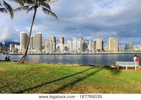 Honolulu Hawaii USA - May 30 2016: View from Ala Moana Beach Park looking towards Ala Wai Boat Harbor
