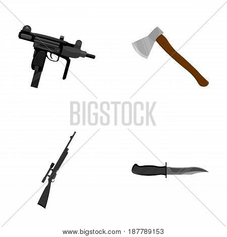 Ax, automatic, sniper rifle, combat knife. Weapons set collection icons in cartoon style vector symbol stock illustration .