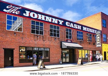 Nashville, TN, USA - 04/05/2015: The Johnny Cash Museum on 3rd Ave S in downtown Nashville, TN