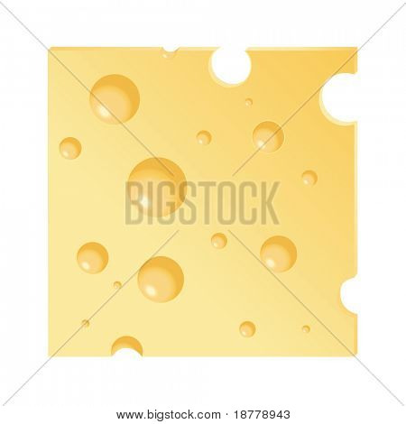 A vector illustration of a cheese slice isolated on white