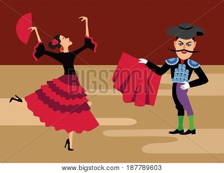 spanish matador cartoon clipart. Bullfighting vector illustration. Toreador man in red cape. Traditional spainish corrida.  beautiful latina dancer with fan.