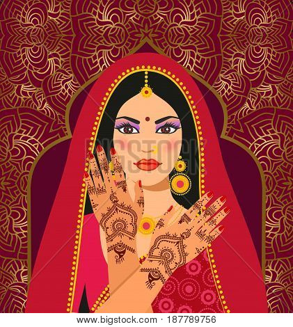 Beautiful Indian brunette young woman in  sari. Hands with mehndi pattern