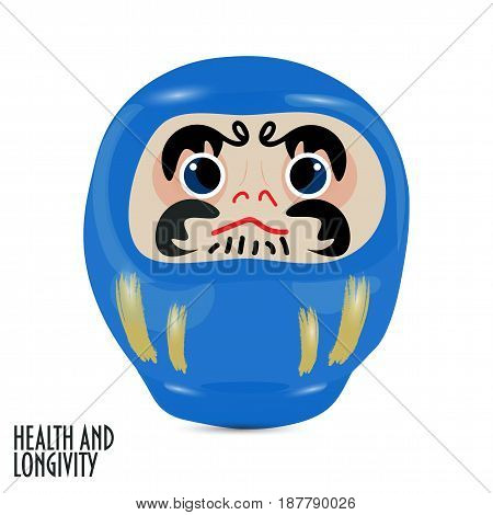 Vector illustration: blue  daruma doll or dharma doll.  Japanese traditional doll modeled after Bodhidharma, the founder of the Zen sect of Buddhism. Blue is for health and longevity.