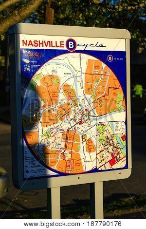 Nashville, TN, USA - 04/04/2015: Nashville B Cycle route map in East Nashville