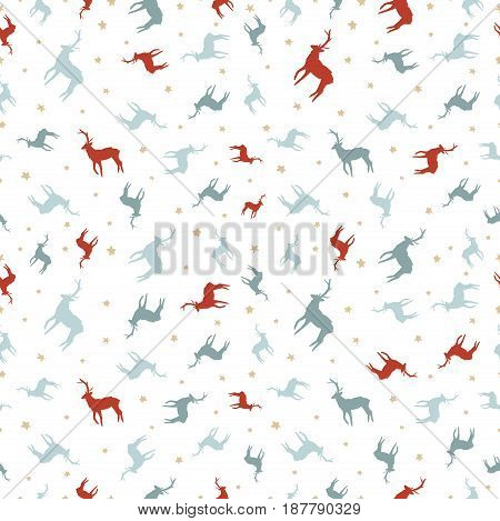 Christmas Reindeer Holiday Doodle Seamless Pattern