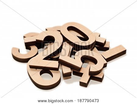 Heap of Wooden Numerals 0-9 isolated on white background