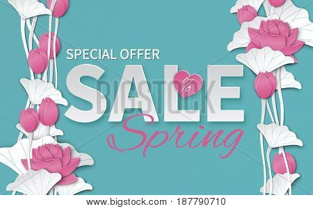 Spring sale banner with paper cut blooming pink lotus flowers on blue floral background for banner flyer invitation poster web site or greeting card. Paper cut out art style vector illustration