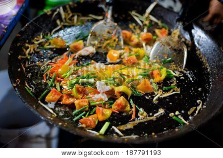 Preparing Fried Thai Rice