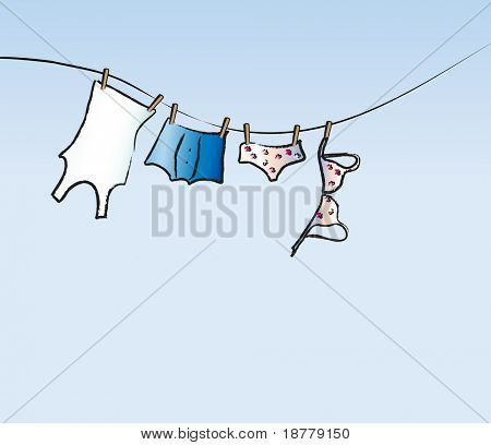 A vector illustration of his and hers underwear drying on a washing line. Space for text