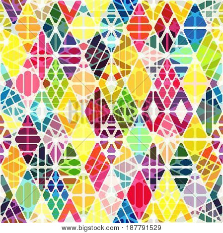 Geometric seamless pattern with overlay effect. Colorful background with rhombuses.