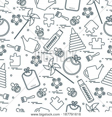 Cute Seamless Pattern With Variety Children's Goods And Toys: Bibs, Pinwheel, Baby Bottles, Dummy, P