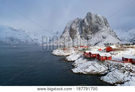 Snow in Mountain. Winter background in Reine, Lofoten Islands, Norway