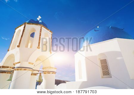 dome of the Orthodox church in Santorini