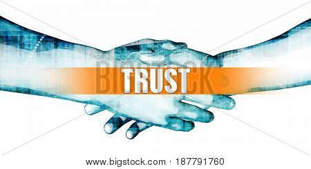 Trust Concept with Businessmen Handshake on White Background 3D Illustration Render