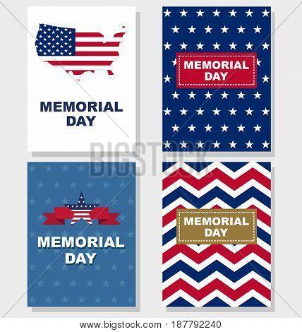 Happy Memorial Day greeting set card. Vector illustration.