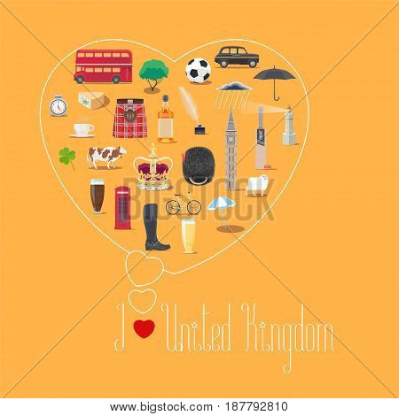 Heart shape illustration with I love United Kingdom quote. British landmarks food art vector icons. Travel to UK Great Britain concept banner