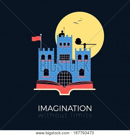 Imagination without limits: fantasy castle concept. Flat design vector illustration. Medieval fortress with knight, catapult and flag, standing on opened book. Simple and stylish, isolated on black background.