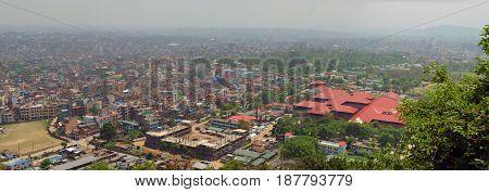 Panorama of Kathmandu - capital of Nepal. View from Swayambhu temple