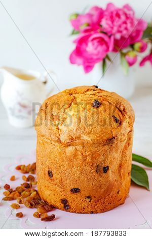 Panettone. Traditional Italian celebration cake with candied fruit and raisins