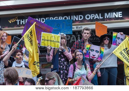 Adelaide, AU - May 20, 2017: South Australians gather at the centre of Adelaide at an Amnesty International rally to protest human rights abuses in Chechnya.