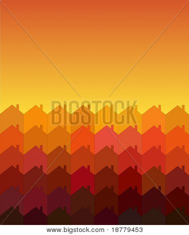 A vector illustration of rows of houses with space for text. Warm shades suggesting sunrise/sunset. Tessellation style.