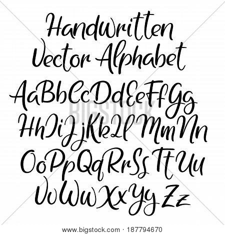 Modern Calligraphy Style Alphabet Handwritten Font Uppercase And Lowercase Letters