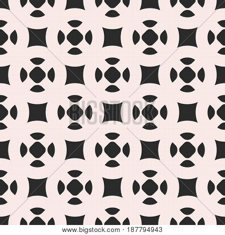 Monochrome vector seamless pattern, simple geometric figures, smooth shapes, squares, circles. Endless abstract background repeat tiles. Modern geometrical texture. Design for print, decor, furniture
