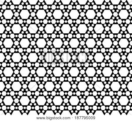 Vector monochrome texture, black & white geometric seamless pattern with different sized hexagons, repeat hexagonal grid. Simple abstract backdrop for tileable print, stamping, decor, digital, web