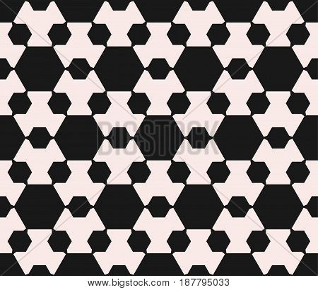 Vector seamless pattern, minimalist monochrome geometric texture. Simple illustration with big and small hexagon figures. Abstract repeat background. Design element for prints, digital, decor, cloth