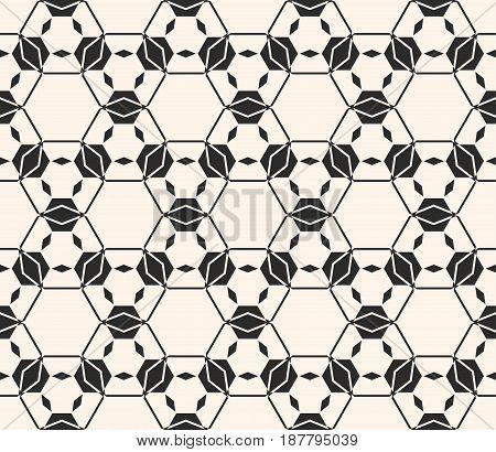 Lace vector texture subtle seamless pattern. Abstract monochrome delicate background, hexagonal lattice angular geometric shapes, thin lines. Design element for prints, decor, textile, fabric, cloth