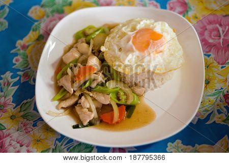 Green Pepper Chicken Egg Stirfry