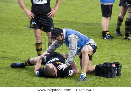 LONDON - May 1: Injured London Wasps player received physiotherapy during the Semi Finals of the Amlin Challenge Cup V Cardiff Blues
