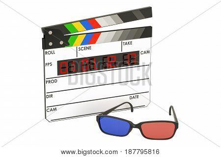 3D cinema concept 3D glasses and digital movie clapper board 3D rendering