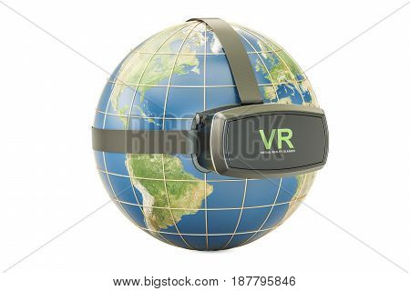 Earth Globe with virtual reality glasses 3D rendering isolated on white background