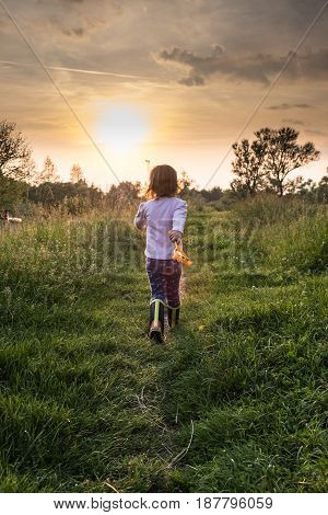 Small girl walking into the sunset down the grassy path, life, uncertainty, growing up concept