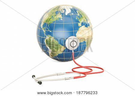 Globe Earth with stethoscope. Global healthcare World Health Day concept. 3D rendering
