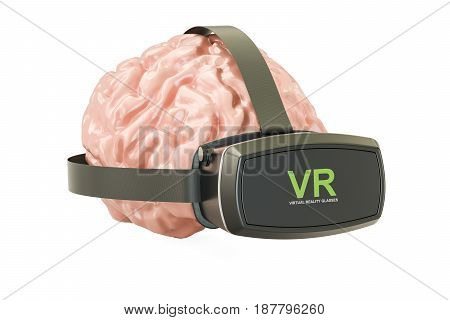 Human brain with virtual reality glasses 3D rendering isolated on white background