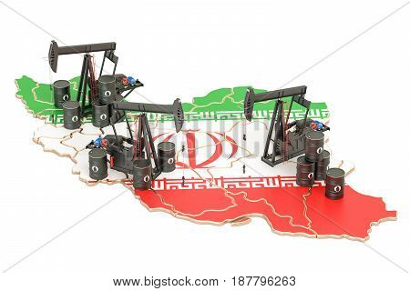 Iran map with oil barrels and pumpjacks. Oil production concept. 3D rendering