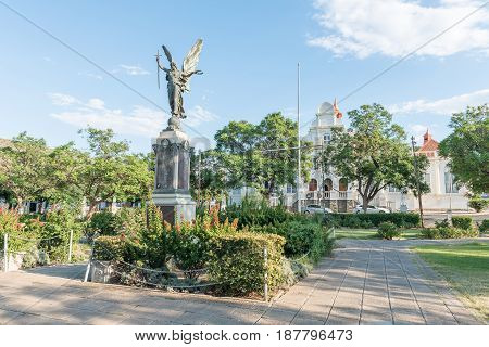 GRAAFF REINET SOUTH AFRICA - MARCH 23 2017: The war memorial on Church Square in Graaff Reinet a town with more than 200 buildings declared as a national monuments