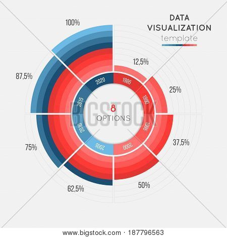Vector circle chart infographic template for data visualization with 8 parts. Easy to edit and to build your own chart.